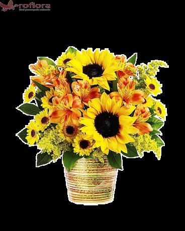 Soarele Tau – Buchet cu floarea soarelui, alstroemeria si minigerbera