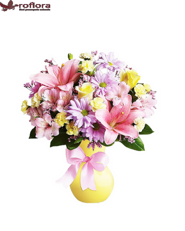 Poezie Florala – Buchet cu trandafiri, garoafe, crizanteme si crini