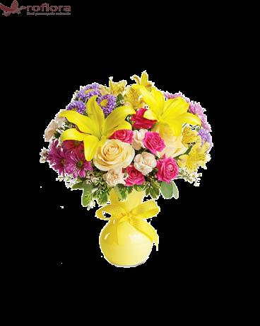 Bonbon – Buchet cu trandafiri, crini si crizanteme