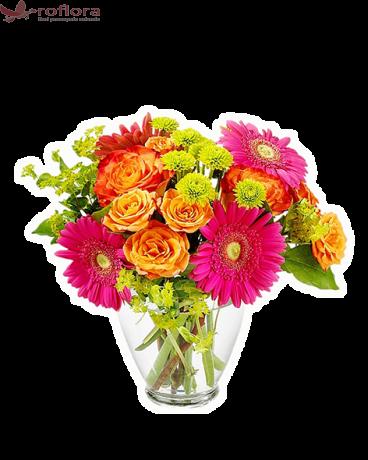 buchet cu gerbera, crizanteme, trandafiri