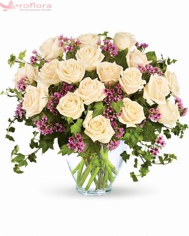 Alb Roial – Buchet cu 19 trandafiri albi