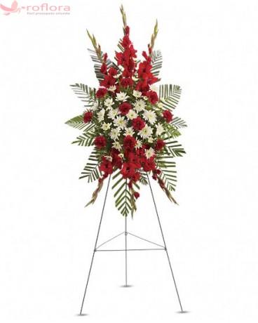 Alinare - Coroana din gladiole si garoafe rosii cu crizanteme albe