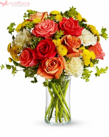 Buchet trandafiri, garoafe, crizanteme