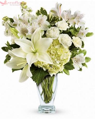 Arctic Queen - Buchet hortensia, crin asiatic, alstroemeria si garofite
