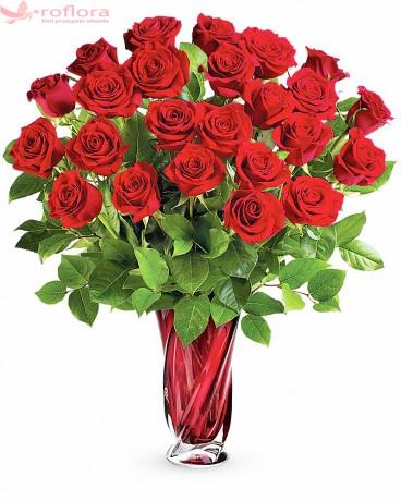 Aroma Dragostei Deluxe – Buchet cu 25 trandafiri rosii