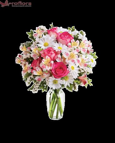 Vraja Marii – Buchet cu trandafiri, crizanteme si alstroemeria