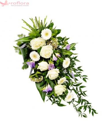 Buchet funerar din trandafiri, frezii si gerbera