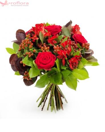 Buchetul iubirii – Buchet din trandafiri, alstroemeria si hypericum