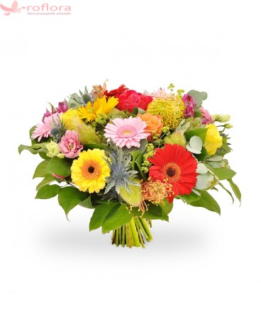 Bucurie Molipsitoare – Buchet cu trandafiri, lisianthus, alstroemeria si gerbera