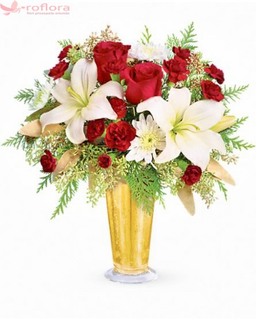 Bulgare de Lumina - Buchet din trandafiri, crini si crizanteme