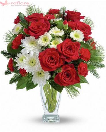 Cadoul Perfect - Buchet din trandafiri, crizanteme si garoafe