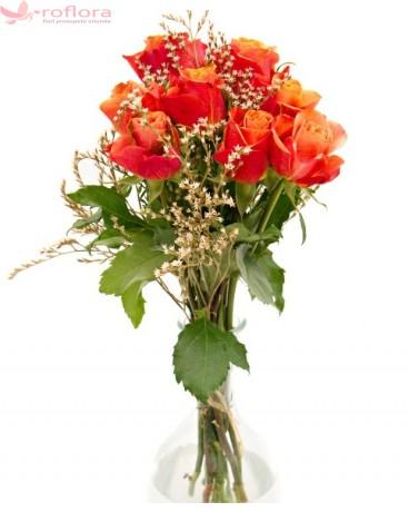 Chihlimbar - Buchet 9 trandafiri portocalii