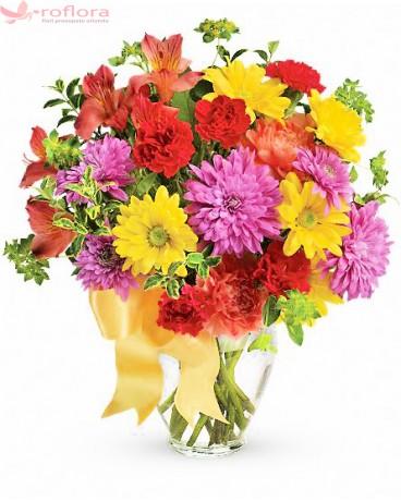 Colour - Buchet din crizanteme, garofite si alstroemerii