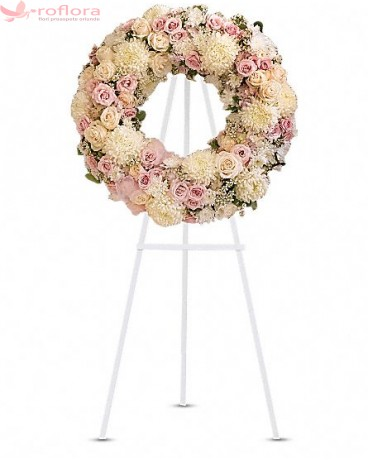 Consolare - Coroana din trandafiri, minirose si crizanteme