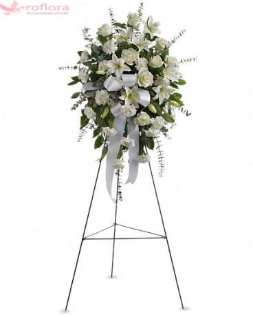 Coroana Alba - Coroana din trandafiri albi, crini albi si garoafe albe