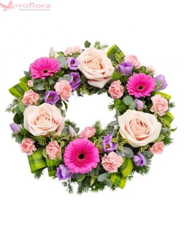 Coroana funerara cu trandafiri, gerbera si lisianthus