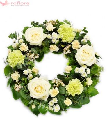 Coroana funerara cu trandafiri si garoafe