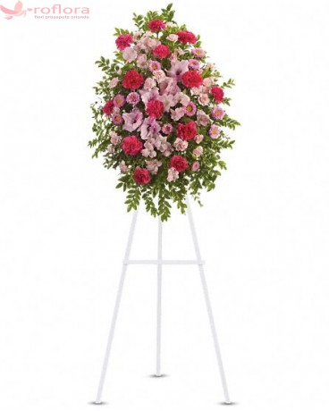 Coroana Roz - Coroana din garoafe rosii, garofite roz, alstroemeria roz