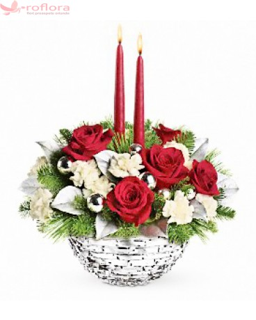 Darul Cerului - Aranjament din trandafiri si garofite