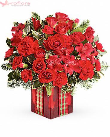 Desavarsit– Buchet din trandafiri, alstroemeria si garoafe