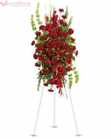 Devotament - Coroana din trandafiri, gladiole si garoafe rosii
