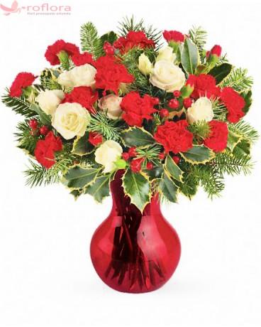 buchet de flori din trandafiri albi si garoafe rosii