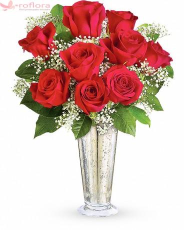 Dragoste Nemuritoare – Buchet cu 9 trandafiri rosii