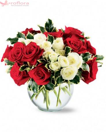Duet - Buchet din trandafiri si minirosa