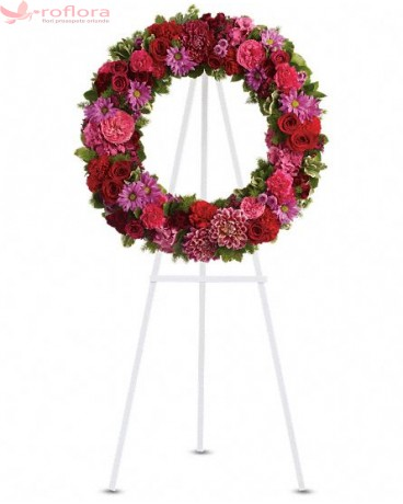 Enduring - Coroana din crizanteme, minirose si garoafe