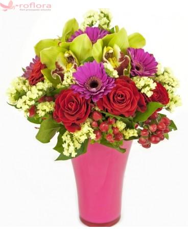 Exotic fantasy Deluxe - Orhidee, trandafiri si gerbera