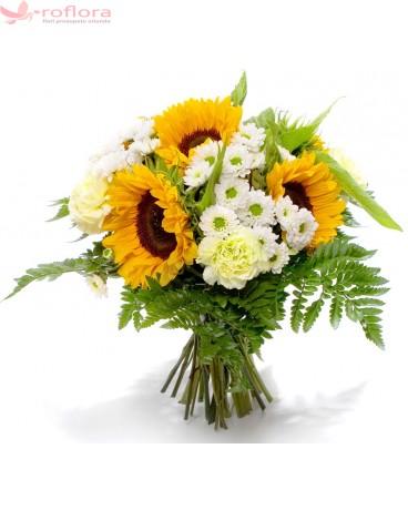 Fairy - Buchet din floarea-soarelui, crizanteme si garoafe