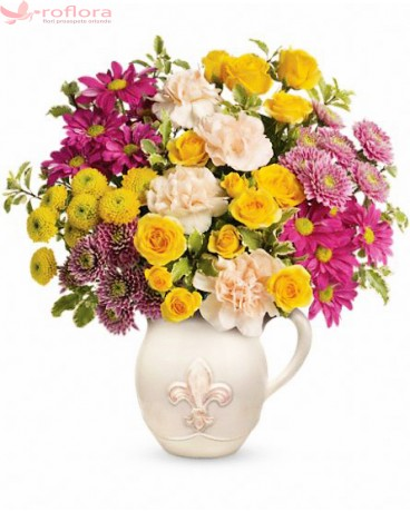 Fancy bouquet - Buchet din minirosa, garoafe si crizanteme