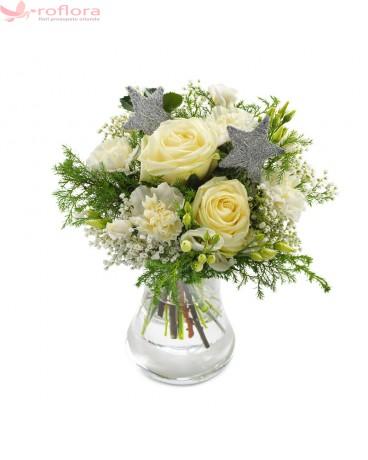 Flori de Gheata - Buchet cu trandafiri si garoafe