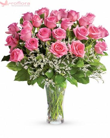 Buchet din 25 de trandafiri roz