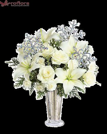 Fulg de Nea - Buchet din crini si trandafiri albi