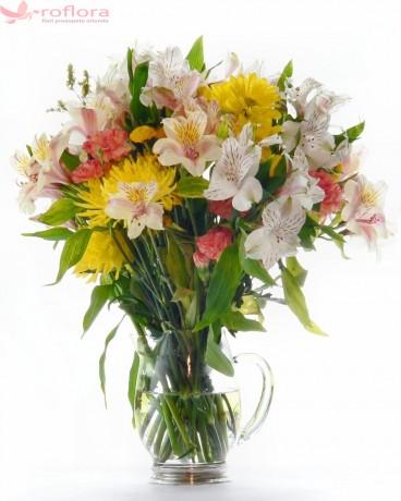 Garden joy - Buchet din alstroemeria si crizanteme