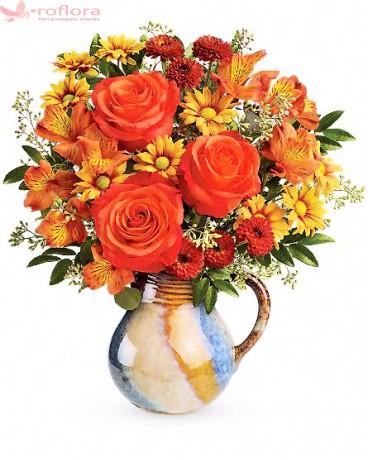 Buchet trandafiri, alstroemeria, crizanteme