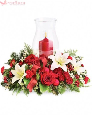 Grandios - Aranjament din trandafiri, minirose, crini si garofite