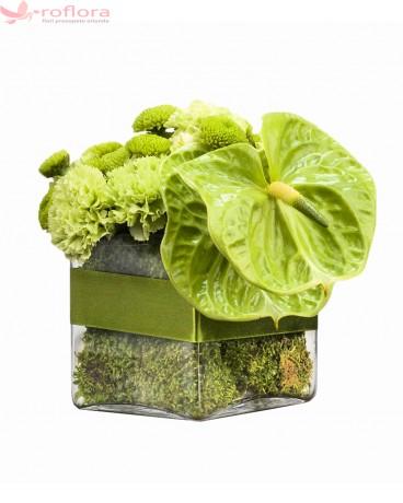 Aranjament cu crizanteme verzi