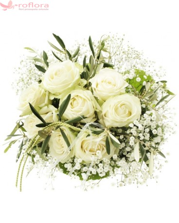 Heavenly Bouquet - Buchet din trandafiri albi