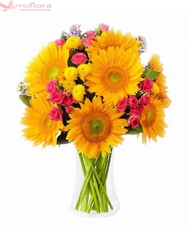 Impression - Buchet din floarea soarelui, minirosa si crizanteme