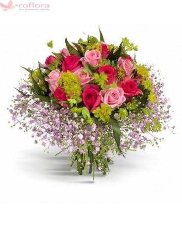Jocul iubirii – Buchet cu trandafiri roz deschis si rosii