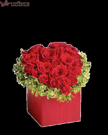Joyful heart Deluxe- Inima din trandafiri rosii