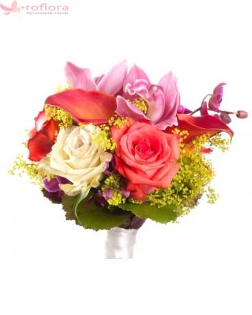 Buchet de flori din trandafiri, crini, orhidee si cale
