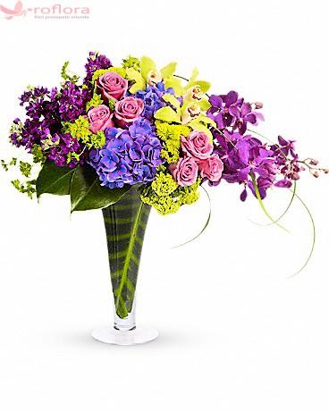 Majestic - Buchet cu hortensia, orhidee si trandafiri