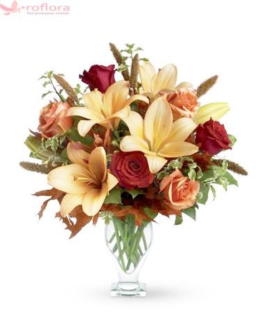 Buchet cu trandafiri si crini