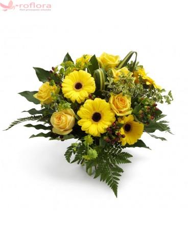 Mangaieri de Soare – Buchet cu trandafiri si gerbera