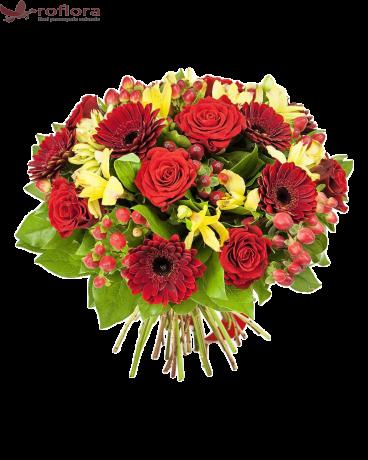 Buchet cu trandafiri si gerbera