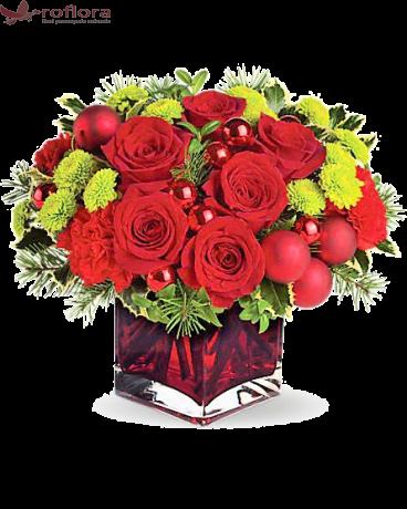 Noapte Magica - Buchet din trandafiri si crizanteme
