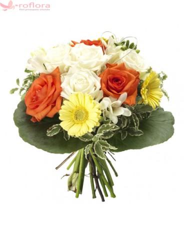 Pastel Infloritor – Buchet din trandafiri, frezii si gerbera